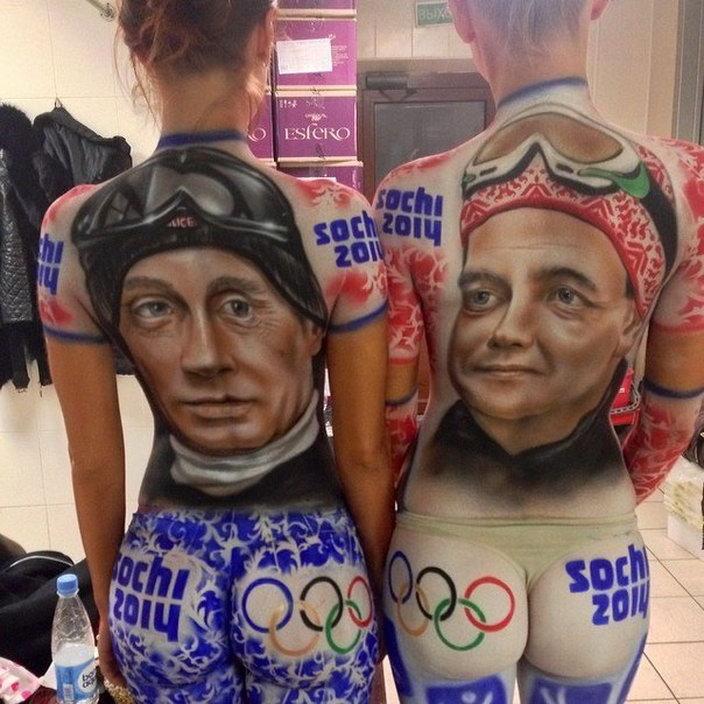 Путин и Медведев боди-арт